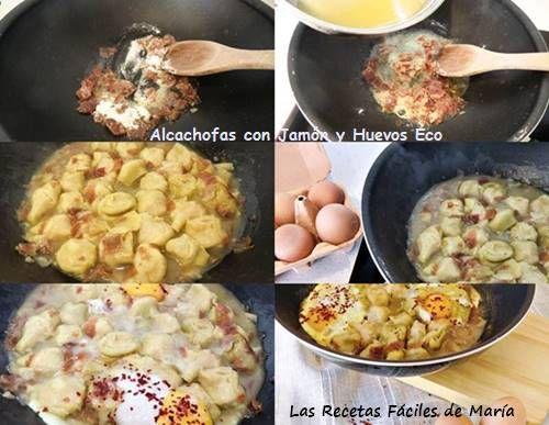 alcachofas con jamón y huevos ecológicos como se hacen