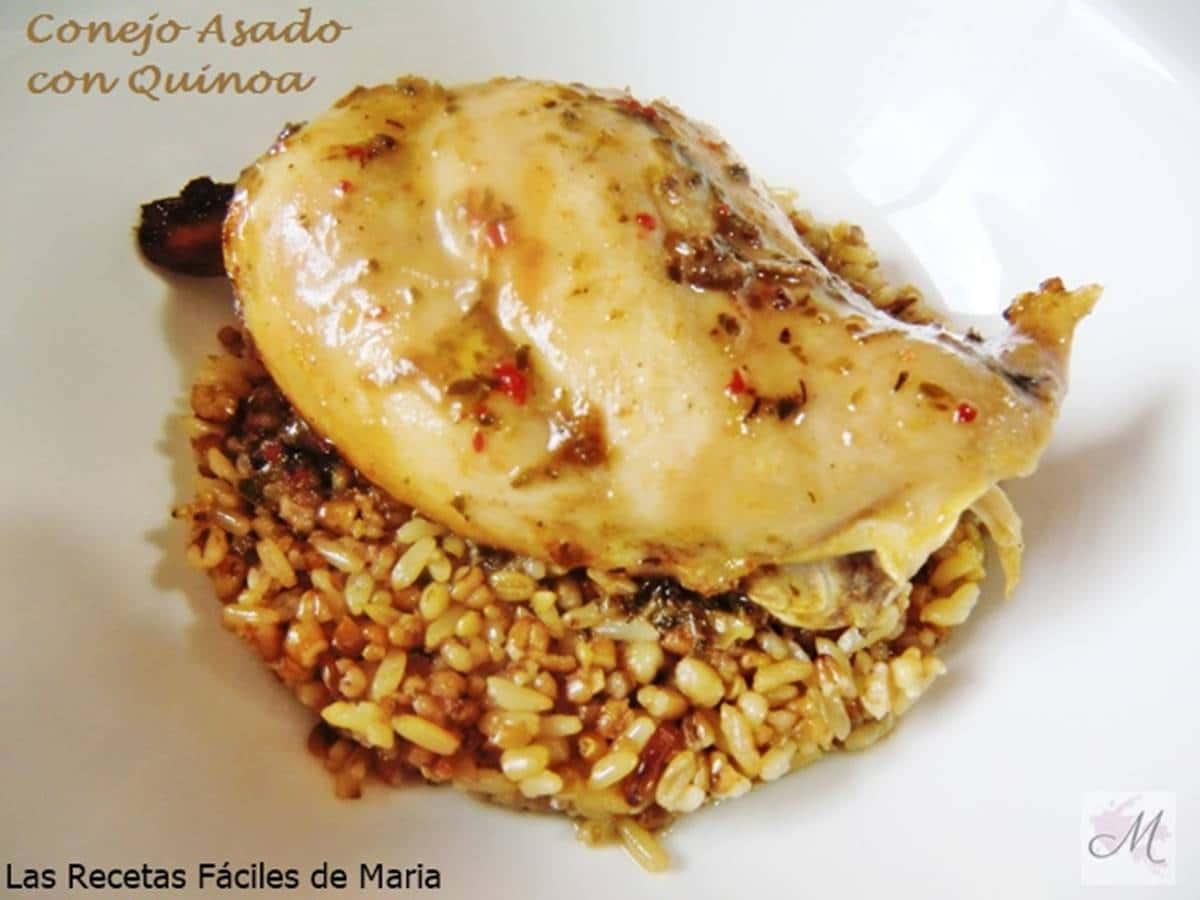 Conejo asado con Quinoa y Trigo Sarraceno receta