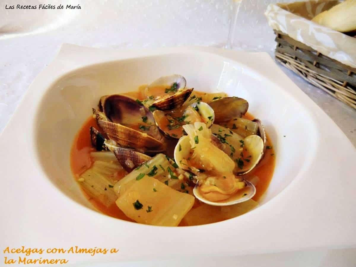 Acelgas con Almejas a la Marinera receta de verduras