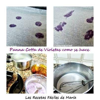 Panna Cotta de Violetas como se hace receta paso a paso
