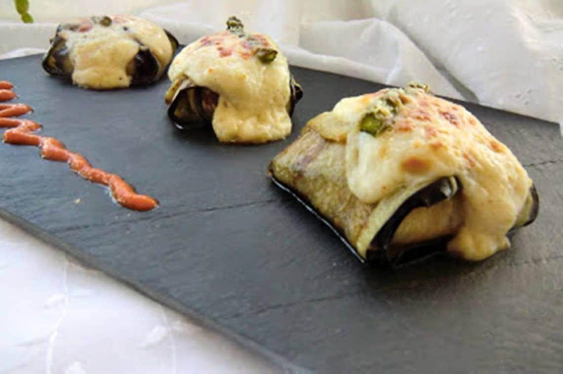 berenjenas rellenas con trigueros y champiñones portobello
