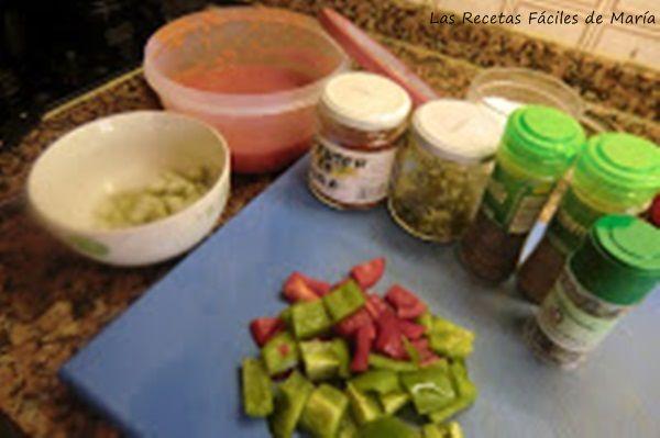 ingredientes para paella de conejo con hierbas aromáticas