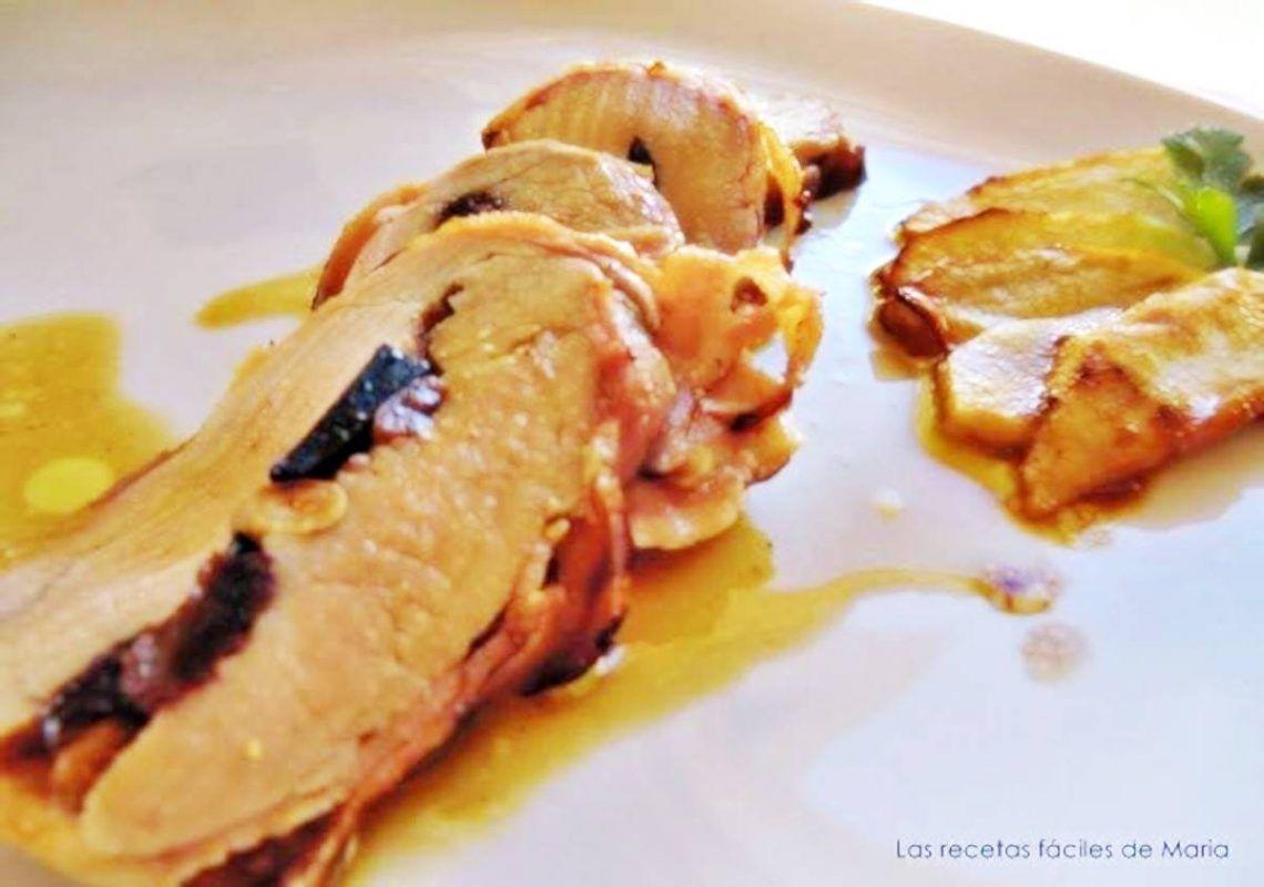 Solomillo de Cerdo Relleno de Trufa, Piñones y Pasas con toque de Brandy receta de cocina