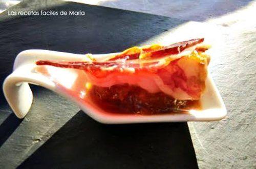 carabineros con chutney de Mango y jamón ibérico