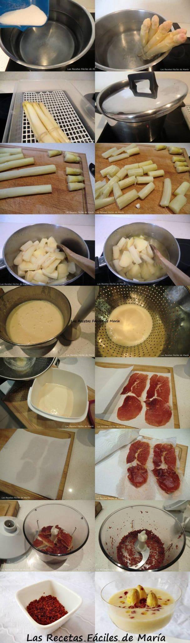 crema de espárragos naturales con polvo de jamón receta paso a paso