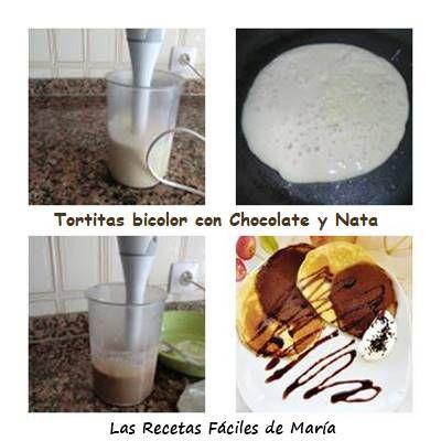Tortitas Bicolor con chocolate y nata paso a paso
