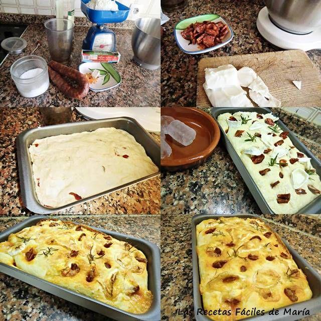 Focaccia de queso rulo y chorizo casero receta paso a paso
