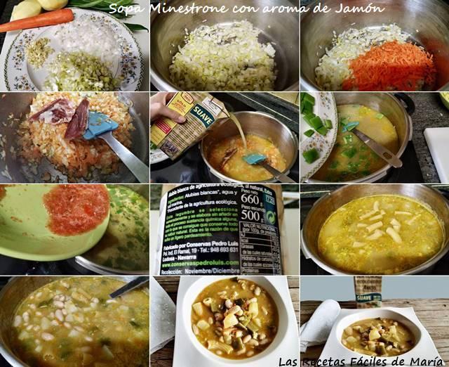 sopa minestrone con aroma de jamón receta paso a paso