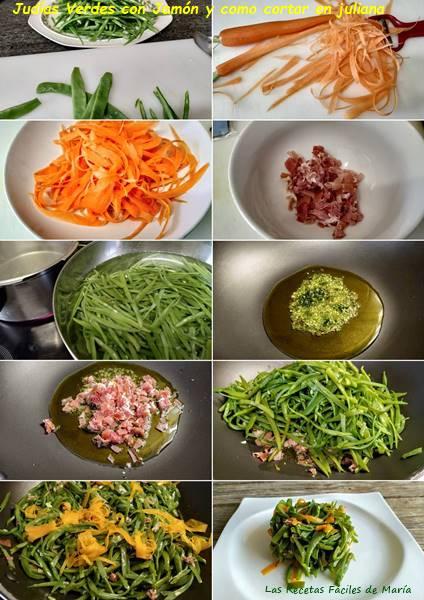 judías verdes con jamón y como cortar en juliana receta paso a paso