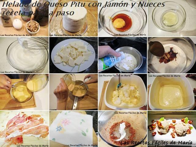 helado de queso Afuega'l Pitu con nueces y jamón receta paso a paso