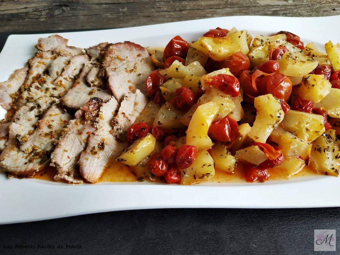Lomo adobado casero con Patatas y Tomates Cherry