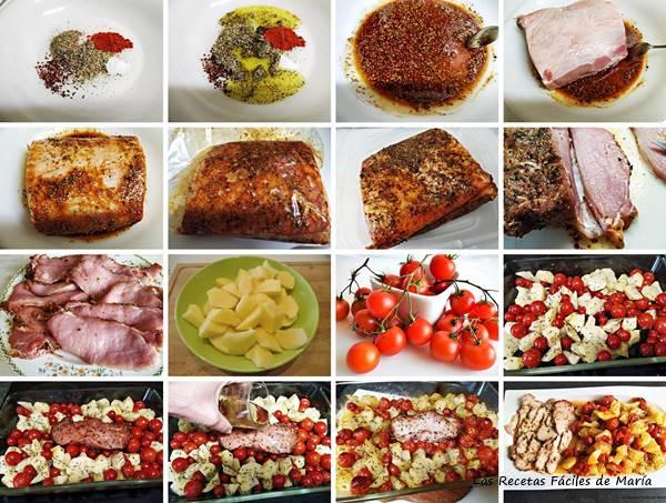 lomo adobado casero al horno con patatas y tomates receta y elaboración