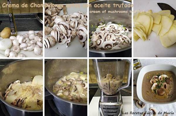crema de champiñones y setas con aceite trufado